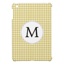 Personalized Monogram Houndstooth pattern Yellow iPad Mini Case