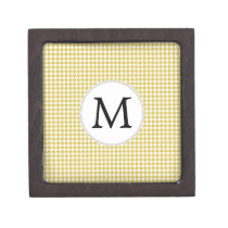 Personalized Monogram Houndstooth pattern Yellow Jewelry Box