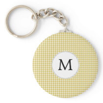 Personalized Monogram Houndstooth pattern Yellow Keychain