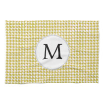 Personalized Monogram Houndstooth pattern Yellow Kitchen Towel
