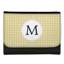 Personalized Monogram Houndstooth pattern Yellow Leather Wallet For Women