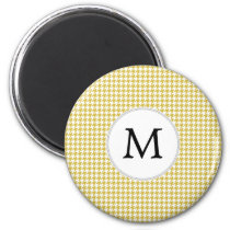 Personalized Monogram Houndstooth pattern Yellow Magnet