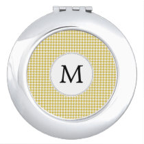 Personalized Monogram Houndstooth pattern Yellow Mirror For Makeup