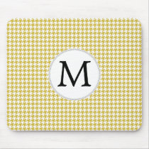 Personalized Monogram Houndstooth pattern Yellow Mouse Pad