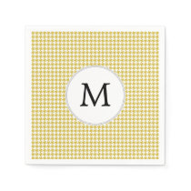 Personalized Monogram Houndstooth pattern Yellow Paper Napkin