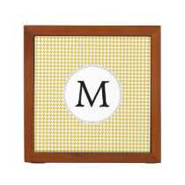 Personalized Monogram Houndstooth pattern Yellow Pencil Holder