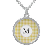 Personalized Monogram Houndstooth pattern Yellow Sterling Silver Necklace