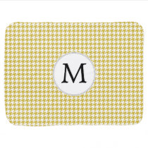 Personalized Monogram Houndstooth pattern Yellow Swaddle Blanket