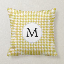 Personalized Monogram Houndstooth pattern Yellow Throw Pillow