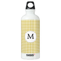 Personalized Monogram Houndstooth pattern Yellow Water Bottle
