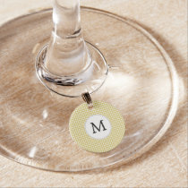 Personalized Monogram Houndstooth pattern Yellow Wine Glass Charm