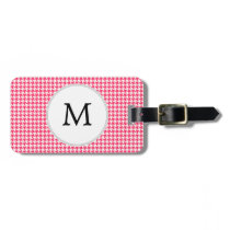 Personalized Monogram Houndstooth Pink and White Bag Tag
