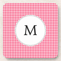 Personalized Monogram Houndstooth Pink and White Beverage Coaster