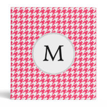 Personalized Monogram Houndstooth Pink and White Binder