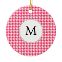 Personalized Monogram Houndstooth Pink and White Ceramic Ornament