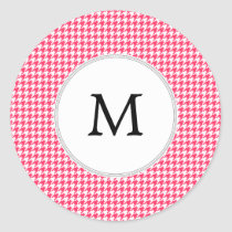 Personalized Monogram Houndstooth Pink and White Classic Round Sticker