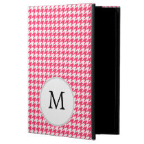 Personalized Monogram Houndstooth Pink and White Cover For iPad Air