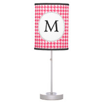 Personalized Monogram Houndstooth Pink and White Desk Lamp