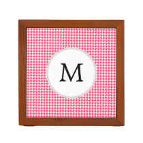 Personalized Monogram Houndstooth Pink and White Desk Organizer