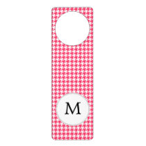 Personalized Monogram Houndstooth Pink and White Door Hanger
