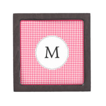 Personalized Monogram Houndstooth Pink and White Gift Box