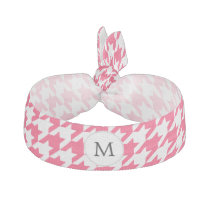 Personalized Monogram Houndstooth Pink and White Hair Tie