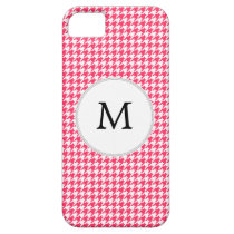 Personalized Monogram Houndstooth Pink and White iPhone SE/5/5s Case