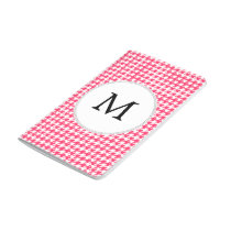 Personalized Monogram Houndstooth Pink and White Journal