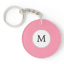 Personalized Monogram Houndstooth Pink and White Keychain