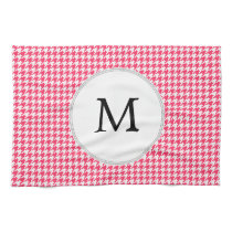 Personalized Monogram Houndstooth Pink and White Kitchen Towel