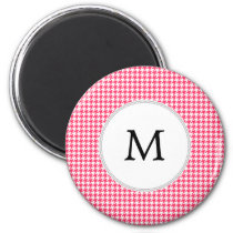 Personalized Monogram Houndstooth Pink and White Magnet