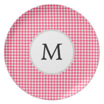 Personalized Monogram Houndstooth Pink and White Melamine Plate