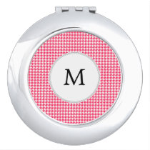 Personalized Monogram Houndstooth Pink and White Mirror For Makeup