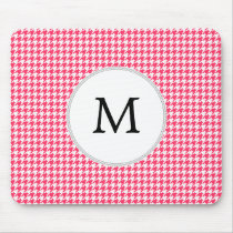 Personalized Monogram Houndstooth Pink and White Mouse Pad