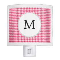 Personalized Monogram Houndstooth Pink and White Night Light