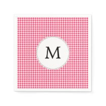 Personalized Monogram Houndstooth Pink and White Paper Napkin
