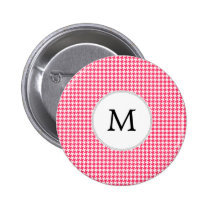Personalized Monogram Houndstooth Pink and White Pinback Button