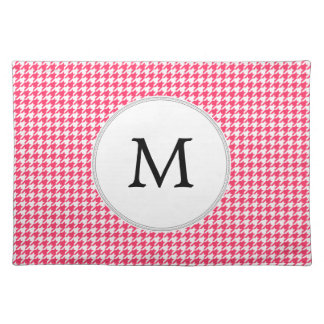 Personalized Monogram Houndstooth Pink and White Placemat