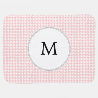 Personalized Monogram Houndstooth Pink and White Receiving Blanket