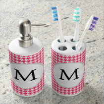 Personalized Monogram Houndstooth Pink and White Soap Dispenser & Toothbrush Holder