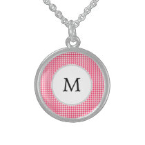 Personalized Monogram Houndstooth Pink and White Sterling Silver Necklace