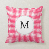 Personalized Monogram Houndstooth Pink and White Throw Pillow
