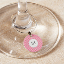 Personalized Monogram Houndstooth Pink and White Wine Charm