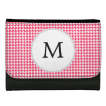 Personalized Monogram Houndstooth Pink and White Women's Wallet