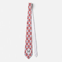Personalized Monogram ikat blue red Neck Tie