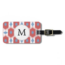 personalized monogram Ikat red and blue Bag Tag