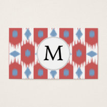 personalized monogram Ikat red and blue Business Card