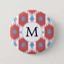 personalized monogram Ikat red and blue Button