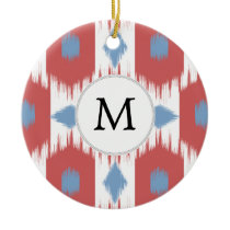 personalized monogram Ikat red and blue Ceramic Ornament