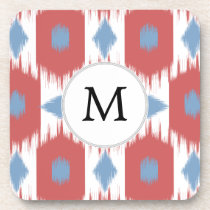 personalized monogram Ikat red and blue Coaster